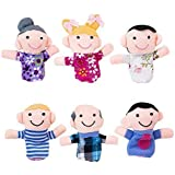 Mini Grandparents, Mom & Dad, Brother & Sister Family Style Finger Puppets for Children, Shows, Playtime, Schools - 6 Piece S