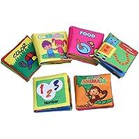 Zhenyu布本動物ベビーソフトブック本静か、文字、図形、数、色、食品布ブック幼児教育玩具の男の子と女の子6pcs