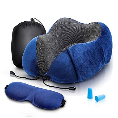 Audew ネックピロー U型まくら 携帯枕 洗えるカバー 旅行用品 飛行機 トラベル アイマスク、イヤプラグ、収納バック付き