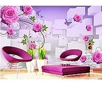 Weaeo 3D壁紙ローズ反射Tvの壁リビングルーム家の装飾カスタム壁画3D壁壁画壁3Dの壁画壁紙-250X175Cm
