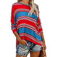 Womens Casual Long Sleeve Color Block Stripe T Shirts Tops Blouse
