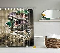 シャワーカーテン付き12ピースフック3d効果aティラノサウルス壊れた壁防水ポリエステル生地風呂カーテン 180x180cm