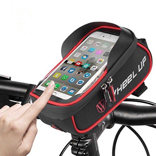 WHEEL UP 自転車 ホルダー バッグ IPX5防水 防塵 自転車 ホルダー バイク ホルダー スマホスタンド 強力固定 iPhone 6 Plus / 6S Plus、iPhone 7 iphone 7 Plus Galaxy S7 / S6 / S6 Edge、Galaxy S5等 多機種対応