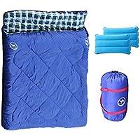 SAMCAMEL 寝袋 2人用 封筒型 枕付き 最低使用温度 -10度 丸洗い シュラフ 連結 ブルー