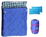 SAMCAMEL 2人用 寝袋 枕付き シュラフ 封筒型 連結 解体 最低使用温度 -10度 車中泊 防災 厚手 洗える ブルー