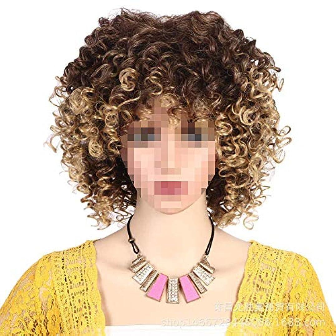 アイデアタイトハンカチ女性のための合成ショート変態カーリーヘアウィッグ/耐熱性繊維ショルダー長さ/アフリカ系アメリカ人コスプレウィッグ用ウィッグ