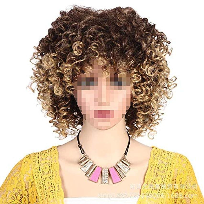 防ぐセクション取る女性のための合成ショート変態カーリーヘアウィッグ/耐熱性繊維ショルダー長さ/アフリカ系アメリカ人コスプレウィッグ用ウィッグ