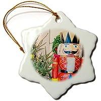 3drose Danita Delimont–Jim Engelbrecht–Figurines–Nutcracker外側Kathe Wohlfahrt保存、Rothenburg、ドイツ–Ornaments 3 inch Snowflake Porcelain Ornament orn_188554_1