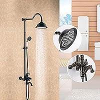 高級シャワーセット - フル銅ORBハンドヘルドシャワーヘッド、調節可能シャワースタンドデラックスバスルームシャワーセット、調節可能シャワー、ブラック