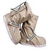 (ジェイ シー ティー ワイ) J_C_T_Y 靴の上から履ける 滑らない 防水 レイン シューズ カバー ( ユニセックス ) J_C_T_Y収納袋 セット (L, ベージュ)