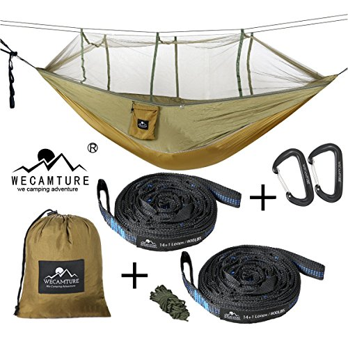 ハンモック 蚊帳付き 高品質 パラシュート 耐荷重 軽量幅広 超広い 2人用 丈夫 収納袋付き カラビナ付き 折畳み 室内 アウトドア キャンプ 公園 ハイキング 釣り ピクニック 持ち運び簡単 (グリーン)