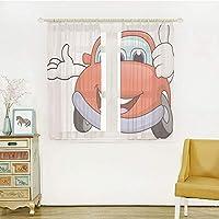 自然の風を通し レースカーテン ストライプミラーレースカーテン 白色 幅100cm×丈108cm 2枚組 車、目と口の漫画の赤い車と親指で手を幸せなイメージプリント装飾、朱色のライラック