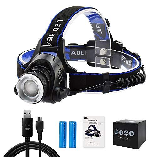 AUKELLY ヘッドライト LED ヘッドランプusb充電式 アウトドアライト 高輝度CREE T6 IP65防水仕様 角度調節可能 ズーム機能 点灯3モード SOS機能18650電池付属