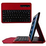 ikodoo iPad miniケースiPad mini 3/ iPad Mini 2/ iPad Miniキーボードケース、ウルトラスリムシェル軽量スタンドカバー磁気取り外し可能ワイヤレスBluetoothキーボード付き(レッド)