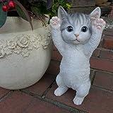 猫の置物 子猫のばんざい 73QY キャット ガーデンオブジェ CAT 動物 オーナメント ネコ 雑貨 ガーデン オブジェ ガーデニング インテリア