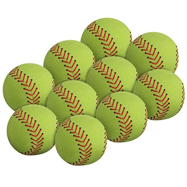 WOWMAX Toy 野球用ぬいぐるみ ふわふわ スポーツボール ソフト 耐久性 スポーツおもちゃ ギフト 子供用 3インチ グリーン 10個セット