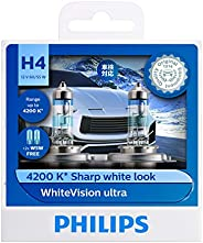 Philips 12342WVUSM H4 WhiteVision Ultra Headlight Globe Twin Pack