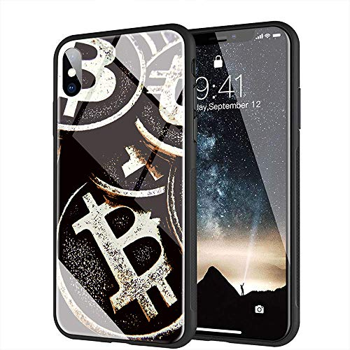 iPhone 7 Plus ケース, iPhone 8 Plus ケース, と互換性のある強化ガラスバックカバーソフトシリコンバンパー iPhone 7 Plus/8 Plus AMA-16 BTCビットコイン