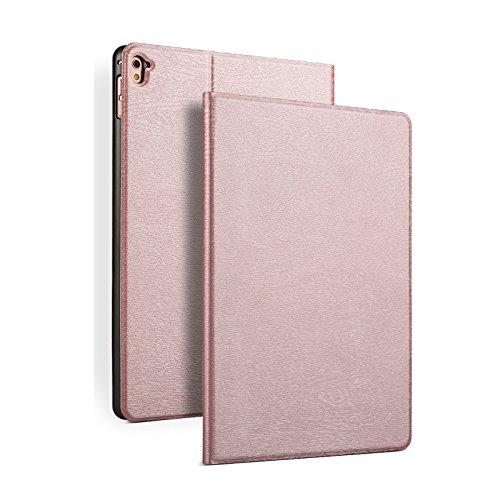 iPad mini3 ケース iPad mini2 ケース iPad mini ケース 手帳型 スリープケース 横開き iPad mini 3 / mini 2 / mini レザー カバー 本革調 衝撃吸収 スタンド機能付き オートスリープ機能付き マグネット式 木紋 木目調 薄型 (ローズゴールド)