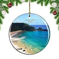 Weekinoサンチョビーチブラジルクリスマスデコレーションオーナメントクリスマスツリーペンダントデコレーションシティトラベルお土産コレクション磁器2.85インチ