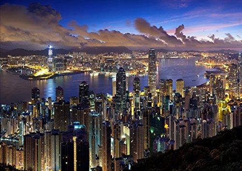 絵画風 壁紙ポスター (はがせるシール式) 香港 100万ドルの夜景 ホンコン Hong-Kong キャラクロ HKN-005A2 (A2版 594mm×420mm) 建築用壁紙+耐候性塗料