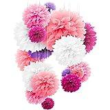 20個セット ペーパーフラワー フラワーポンポン 5色4サイズ パーティー イベント 飾り付け バースデー ウエディング