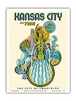 カンザスシティー - フライTWA(トランス・ワールド航空) - 噴水の市 - ビンテージな航空会社のポスター によって作成された デイヴィッド・クライン c.1960s - アートポスター - 23cm x 31cm