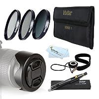 52mmのプロフェッショナルレンズアクセサリキットNikon d7100, d7000, d5200, d5100, d3200, d3100, d800, d700, d600, d300s , d90DSLRカメラIncludes : 3個入りFundamentalフィルターキット( UV CPL nd8ニュートラル密度) +リバーシブルチューリップレンズフード+センターピンチレンズキャップ+ 77mm AMAZ23668