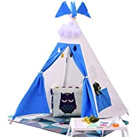 Kids ToyインドアTeepee Tent、キャンバスPlay House WithキャンバスCarry bag-blue