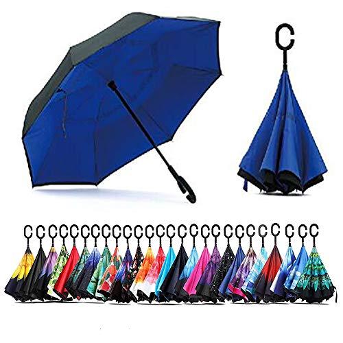 BigDD 逆転傘 逆さ傘 逆折り式傘 ダブルキャノピー傘 自立傘 長傘 手離れC型手元 耐風 晴雨兼用 ビジネス用 車用 UVカット遮光遮熱