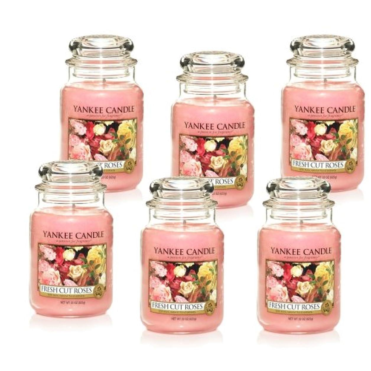 アクセサリー思慮のない木製Yankee Candle Large 22-ounce Jar Candle、Fresh Cut Roses Set of 6 1038367X6