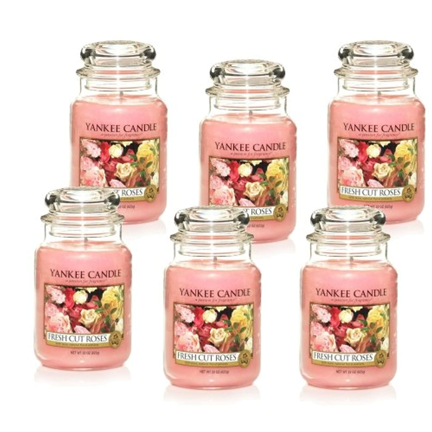 Yankee Candle Large 22-ounce Jar Candle、Fresh Cut Roses Set of 6 1038367X6