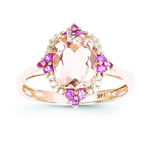 14 Kローズゴールドモルガナイト、ピンクサファイア、&ダイヤモンドリング ? サイズ7