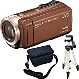 JVC KENWOOD Everio HDビデオカメラ GZ-F100-T ブラウン 内蔵メモリー32GB 3点セット ( 本体 + 三脚 + カメラバッグ )