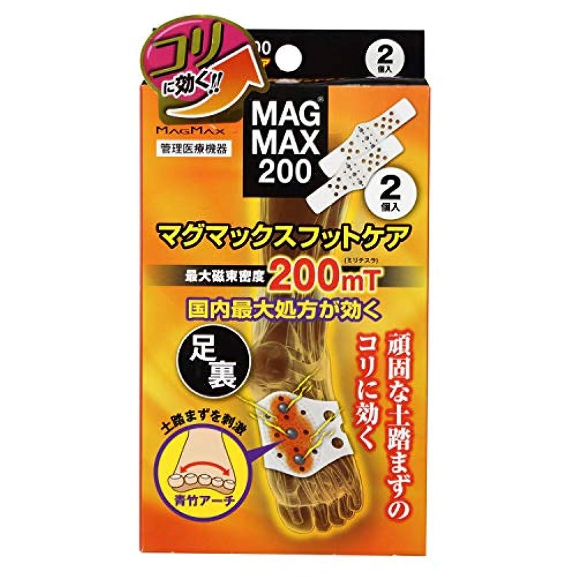 人柄コークス台風マグマックスフットケア MAGMAX200 足裏用磁気ベルト マグネットケア 磁束密度200mT (2個入り)