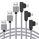 aceyoon ライトニング ケーブル L字 1メートル 3本セット Lightning コード 高速データ通信 + 2.4A急速充電 直角型 ナイロン編み 耐久 Lightning Cable 最新 iOS11 iPhone X / 8 / 8Plus / 7 / 7Plus / 6 / 6Plus に対応可能 1m 長い 90度
