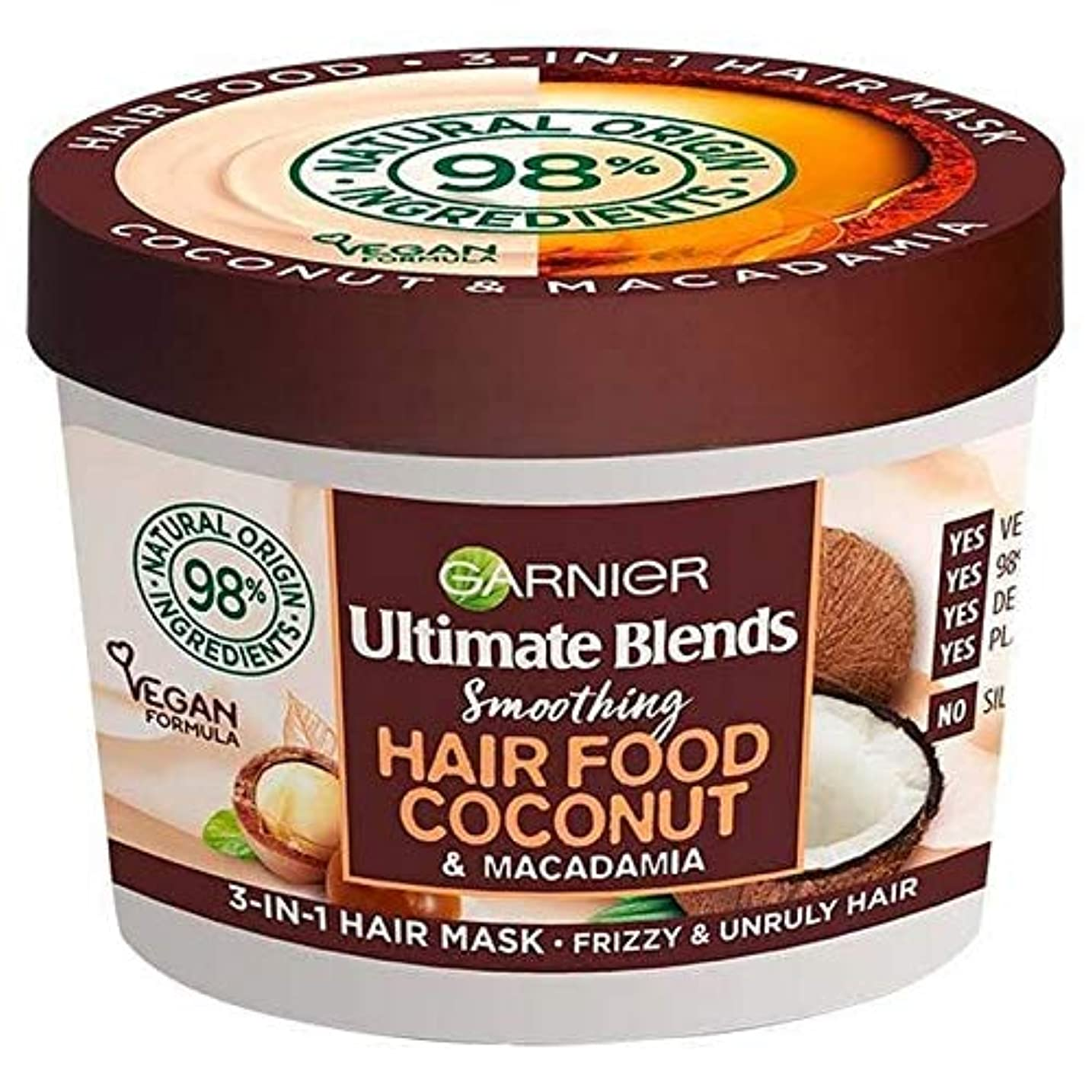 盗難熱意聖なる[Garnier ] ガルニエ究極は1つのマスク390ミリリットルでヘア食品ココナッツ3をブレンド - Garnier Ultimate Blends Hair Food Coconut 3 in 1 Mask 390ml...
