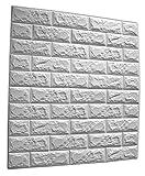 SOOMJ【1枚】DIY 壁ブリック タイル レンガ 壁紙シール 70cm×77cm ブリックステッカー 軽量レンガシール 壁紙シール アクセントクロス ウォールシール はがせる 壁シール (厚い)ホワイト