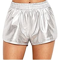 FEESHOW Womens Patent Leather Yoga Hot Boxer Shorts Shiny Metallic Short Pants