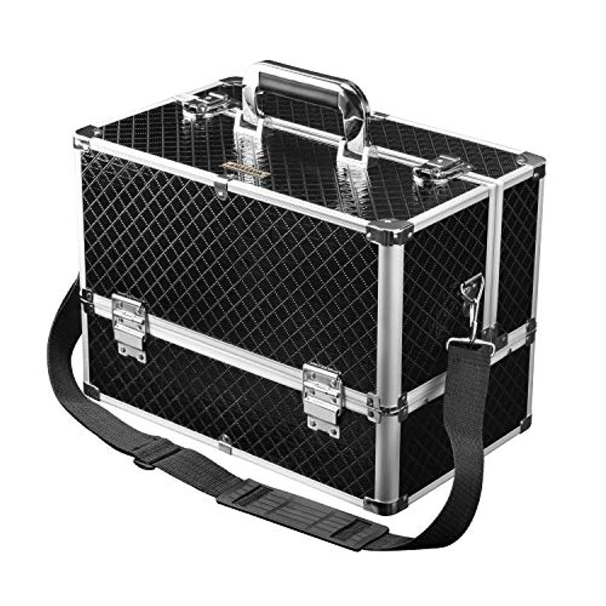 Amasava メイクボックス コスメボックス 大容量 プロ用 化粧箱 薬箱 鍵付き収納ケース ベルト付き ショルダーバッグ 自宅 出張サロン 舞台 ダンス コスプレ 黒