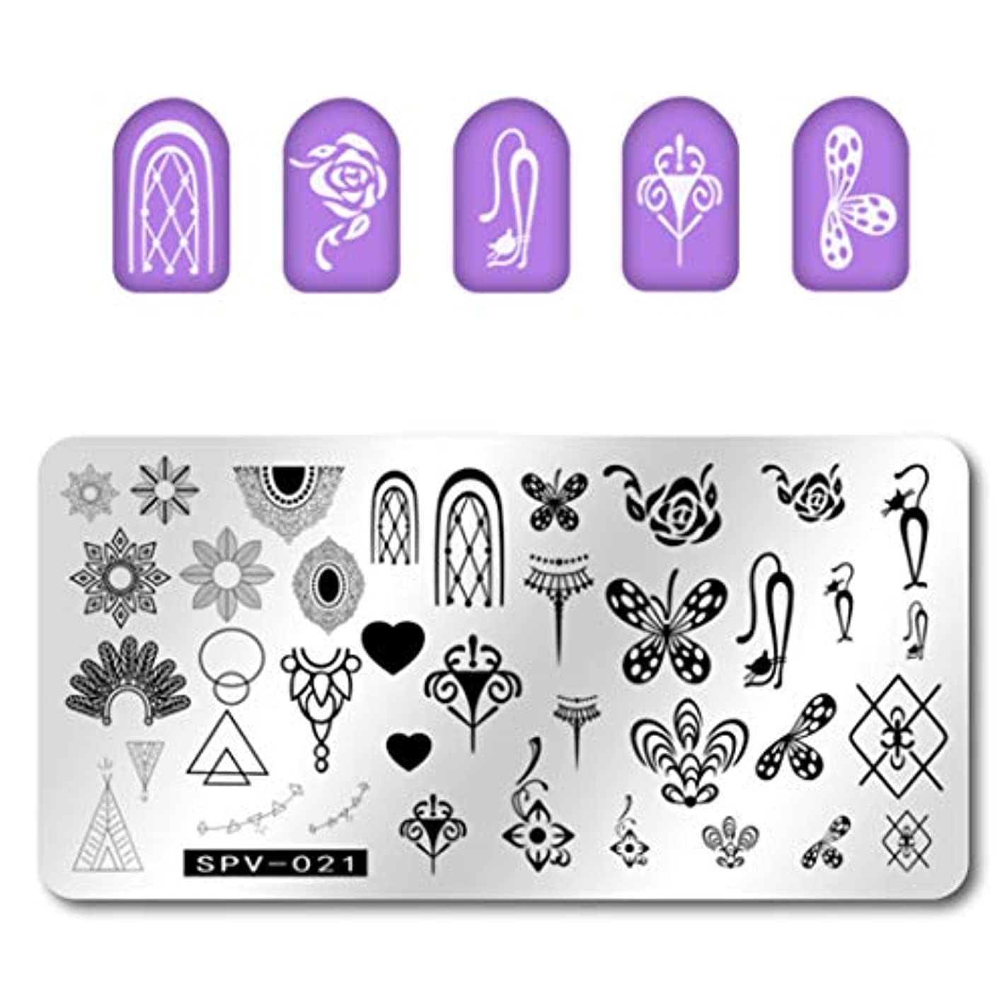 受信仮称キャビンYoshilimen 1Pcs New Stainless Steel Flower Emoji Star DIY Nail Art Image Stamp Stamping Plates Manicure Template...