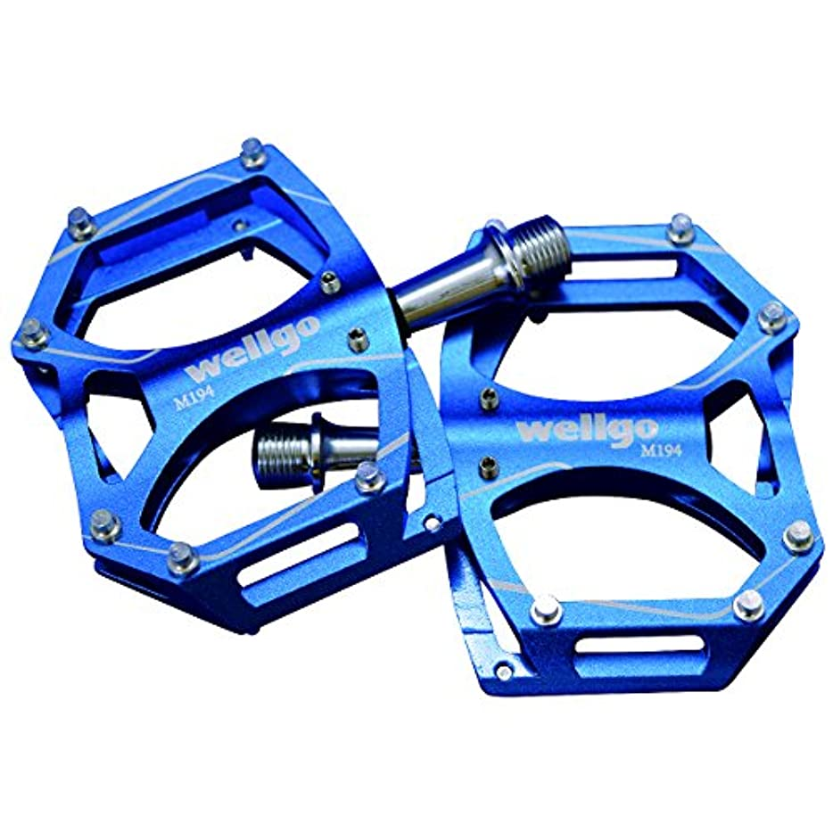 海峡臨検急流WELLGO(ウェルゴ) アルミペダル ピン付 CNC 薄型 ブルー 260g ロード/ATB/MTB M194