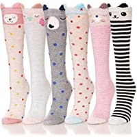 ANLISIM 6 Pair Girls Knee High Socks Cute Animal Pattern Novelty Fashion Soft Cotton Socks