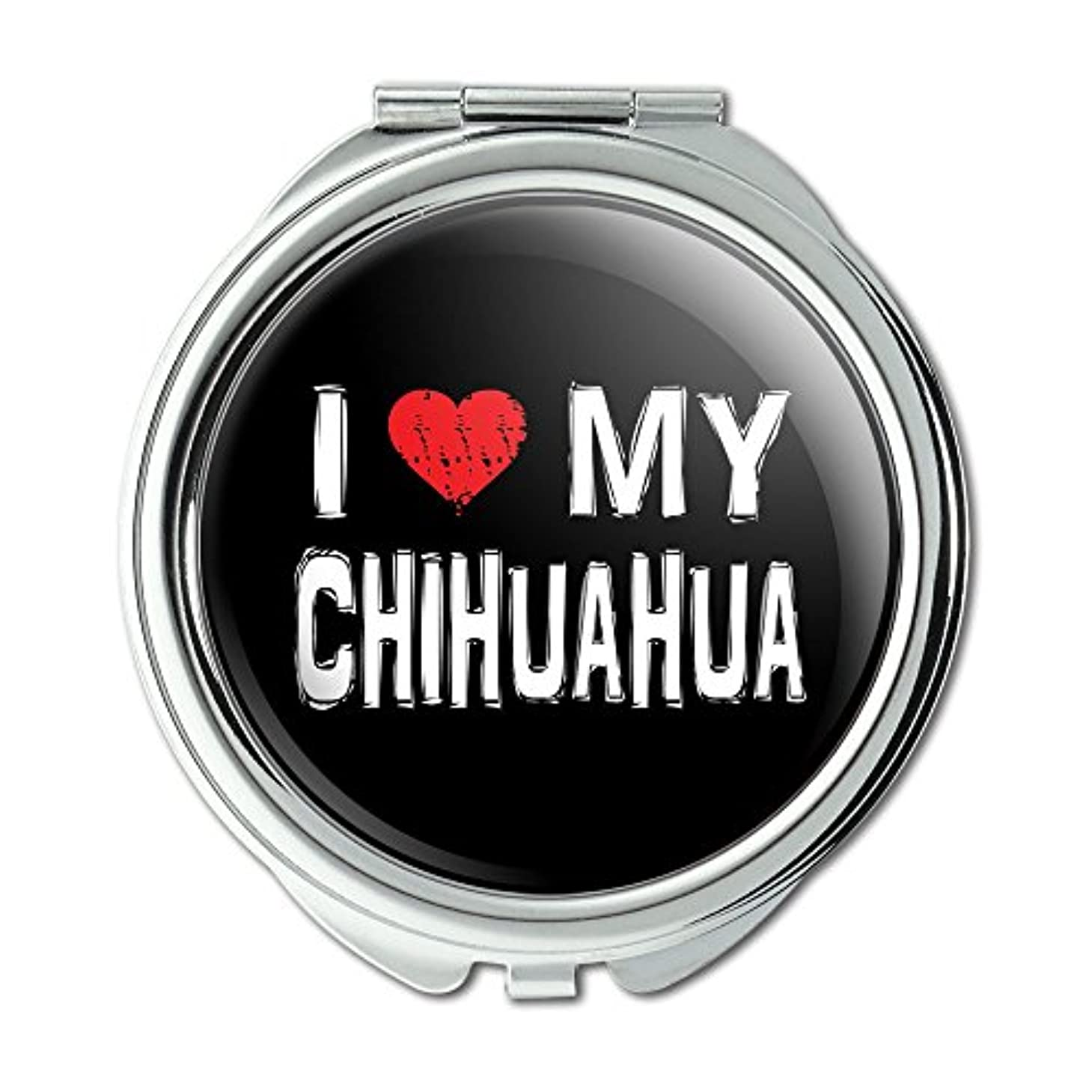 差別大事にする航海I Love My Chihuahua Stylish Compact Purse Mirror
