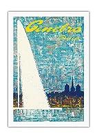 ジュネーブ、スイス - 噴水 によって作成された フェルナンド コレッタ c.1968 - 美しいポスターアート