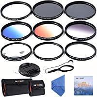 55mm レンズフィルター K&F Concept® 55mm フィルターキット(UV+CPL+ND4+Close-up 2枚+グラデーションフィルター3枚+Star)保護フィルター 55mm UVフィルター レンズ保護と紫外線カット用+PLフィルター 55mm 偏光フィルター 反射除去用+NDフィルター 減光フィルター ND4 光量調節用+グラデーションフィルターキット(グレー/ブルー/オレンジ)+クローズアップレンズ(+4 +10)+スターフィルター +6 Sony A55 A55 A57 A65 A77 A100などのデジタル一眼レフカメラ専用+クリーニングクロス+クリーニングペン+クリーニングペーパー+レンズキャップ/脱落防止紐+フィルターケース(3枚用+6枚用)