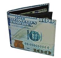 メンズ二つ折りエキゾチック財布Picture 100ドル札のプリントされたギフトボックス。