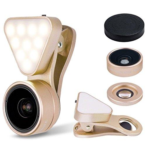 LIEQI JAPAN LQ-041 スマホ用カメラレンズ 1台3役 超広角レンズ マクロレンズ LEDライト 風景撮影 自撮り 集合写真 夜間撮影 ワイドレンズ マクロレンズ クリップ式Iphone Android スマホ タブレット(ゴールド)