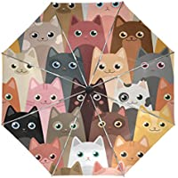 Wamika Cute Kitty Cats Umbrella Automatic Open Close Windproof Compact Anti-UV Travel Umbrella Animals Lightweight Parasol Umbrellas Sun & Rain