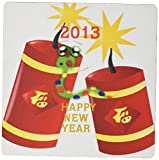 3dRose 8 x 8 x 0.25 Inches Mouse Pad Chinese New Year With Firecrackers N Cartoon Snake (mp_100847_1) [並行輸入品]
